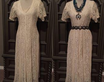 80s Rayon Lace Boho Gypsy Dress in Ivory