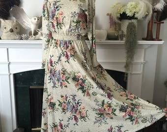 80s Comfortable Botanical Day Dress
