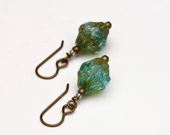 Turquoise and Gold Textured Czech Glass Bead Earrings