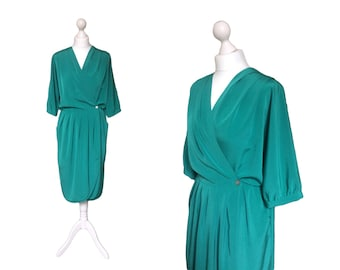 1980's Dress - 80's Vintage Dress - Green Dress - Vintage Wrap Over Dress - Cocoon Dress