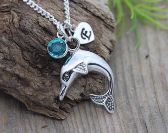 Sterling Silver Dolphin necklace initial and birthstone, Personalized silver dolphin necklace, sterling silver dolphin pendant necklace