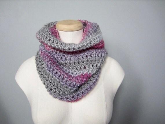 Crochet Pink, Grey, Purple, Lavender, Bright Pink, Striped Scarf, Cowl, Neck Warmer, Men's Scarf, Women's Scarf, Unisex Scarf