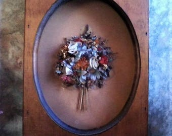 Antique Dried Flower Bouquet Shadowbox