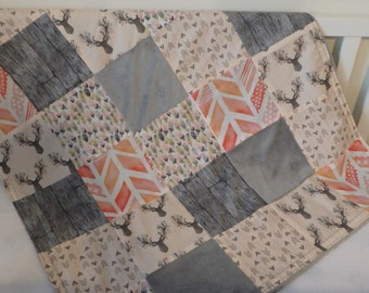 Fawn on Pink Patchwork Baby Minky Blanket or Quilt