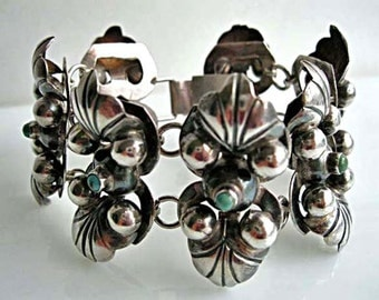 Mexico Sterling Flowers Bracelet, Turquoise Stones, Double Etched Floral Design, Wide Seven Links Signed, Vintage 1940s
