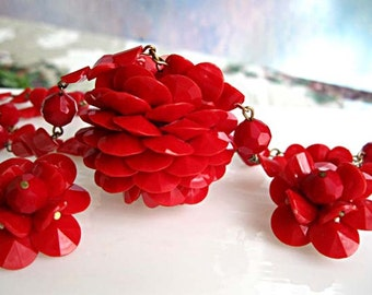 Red Plastic Pom Pom Necklace, Pinecone Petals Fat Ball Pendant and Clip Earrings, Vintage 1950s Kitsch, Fun Summer Colors