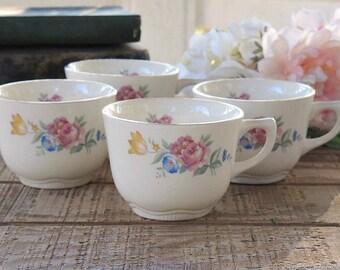 Vintage SCIO Cottage Style Tea Cups, Set of 4, Hazel, Tea Party, French Farmhouse, Weddings, Ca.1940's