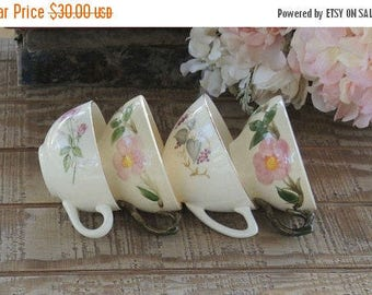 On Sale Mismatched Tea Cups  for Weddings Set of 4, Mid Century Cottage Chic Tea Party, Shabby Chic, Mid Century,Wedding Bridal