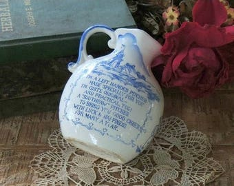 Vintage Delftware Left Handed Pitcher, Southpaw, Nautical, Blue and White Porcelain Pitcher