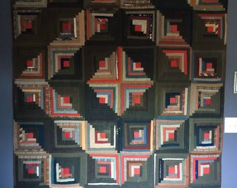 Antique Handmade Folk Geometric Log Cabin Quilt