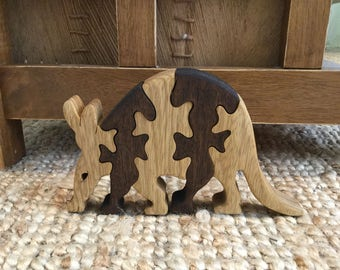 Wooden puzzle toy, kids gift, wood puzzle, Aardvark puzzle, Ant eater, animal puzzle, handmade, jigsaw puzzle, wood working, wood toy, toys.