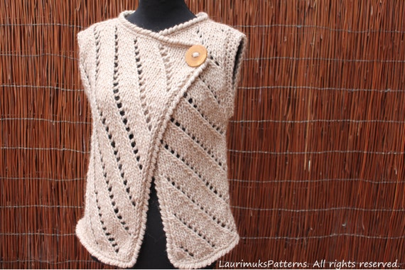 Knitting Pattern Womens Vest : Knitting PATTERN womens Asymmetric knitted sleeveless
