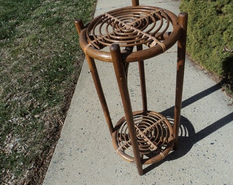 Sturdy bamboo plant stand with two tiers