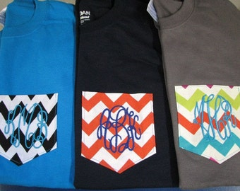Monogram Pocket T shirt Gifts For Teen Girls Personalized Womens Teen Monogrammed Gifts Tshirt Adult Sizes - Embroidered