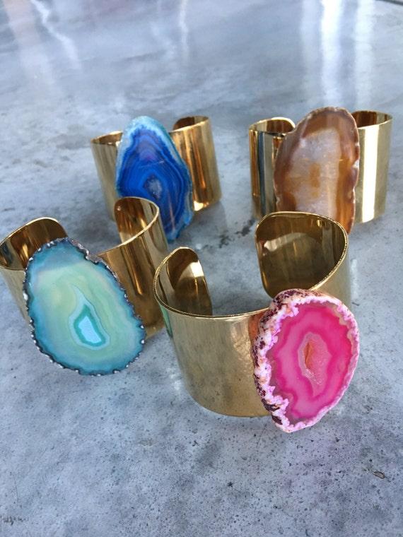 Agate Slice Druzy Bracelet Cuff, Geode Bangles, Boho Jewelry, Crystal Boho Jewelry, Statement Jewelry