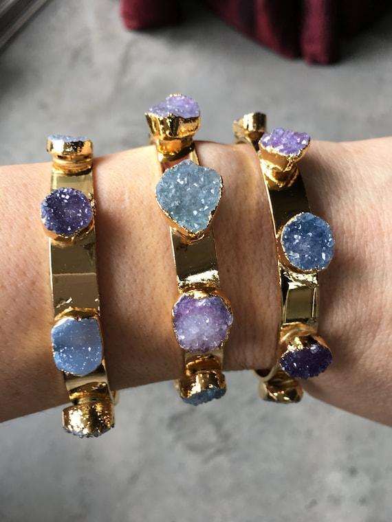 Druzy Cuff Bracelets, crystal bracelet, Quartz bracelet, boho jewelry