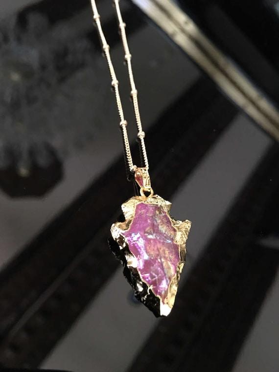 Angel Aura Quartz Arrowhead Necklace