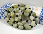 Barrel bead Carved Jade Beads ----- 18mm ----- 10Beads,Transfer beads with black agate beads 8mm 10beads