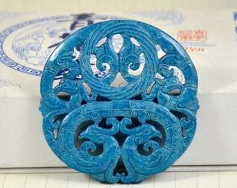 Antique Blue Jade Pendant Double Side Phoenix Prosperity Ring Carved Pendant Amulet Talisman for Your Handmade Jewelry