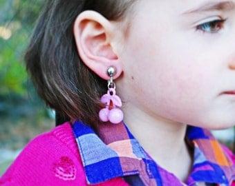 Soft pink cherry clip on earrings. Little girl clip on earrings