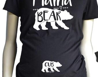 Mama Bear with Cub MATERNITY Shirt,  Pregnancy T-Shirt, Maternity Fit Black or White Shirt MamaBear