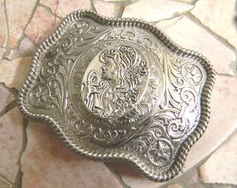 Cameo Belt Buckle, Silver Oval Pretty Lady Western Rhinestone Womens Belt Buckle, Victorian Cameo Belt Buckle , Gift For Her, Womens Gift