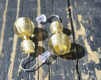 Metallic Yellow Glass Drop Earrings