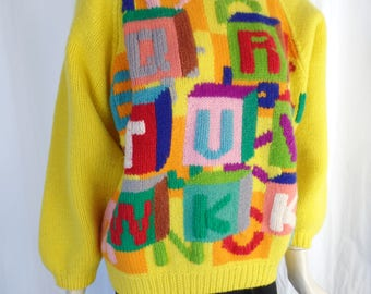 "1984 NOBUO IKEDA K-Factory ""Alphabet Soup"" collection RUNWAY sweater/ hand knit wool/ collectible Japanese couture: size S/M"