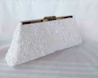 White satin ribbon  wedding clutch/ Bridal accessory/ Romantic wedding purse, white evening purse bag/ Gift for her/ Bridal accessory