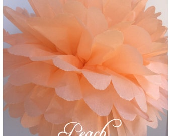 Tissue Paper Pom Poms: Peach -- Or Choose Your Colors-- Baby Shower/ Nursery/ Bedroom/ Party Decorations tissue pom