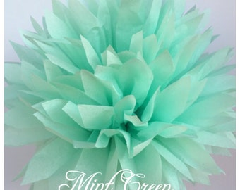 Tissue Paper Pom Poms: Mint  -- Or Choose Your Colors-- Baby Shower/ Nursery/ Bedroom/ Party Decorations tissue pom