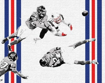 The Julian Edelman Catch Print | Super Bowl LI 51 New England Patriots Champions Poster Graffiti Stencil Art NFL