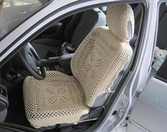 Set of 3 Crochet Car Front Seat Covers - oatmeal (CFSCset 2A)