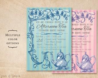 Printable Tea Party Birthday Invitation - 5x7 - Tea Party Vine - Vintage Teapot Floral Flower Blue Green Pink Purple
