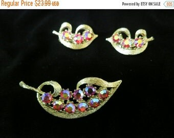 On Sale Vintage 2Pc Red Rhinestone Pin And Clip Earring Set