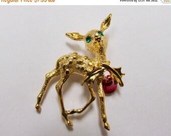 On Sale Vintage Christmas Deer Pin with Rhinestones Item K # 1736