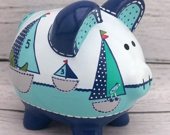 Personalized Piggy bank, Row your Boat, artisan hand painted ceramic custom sail boat aqua navy piggy bank