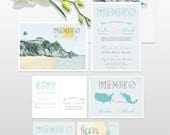Destination wedding invitation Mexico Riviera Tulum Maya Playa del Carmen  illustrated wedding invitation Deposit Payment