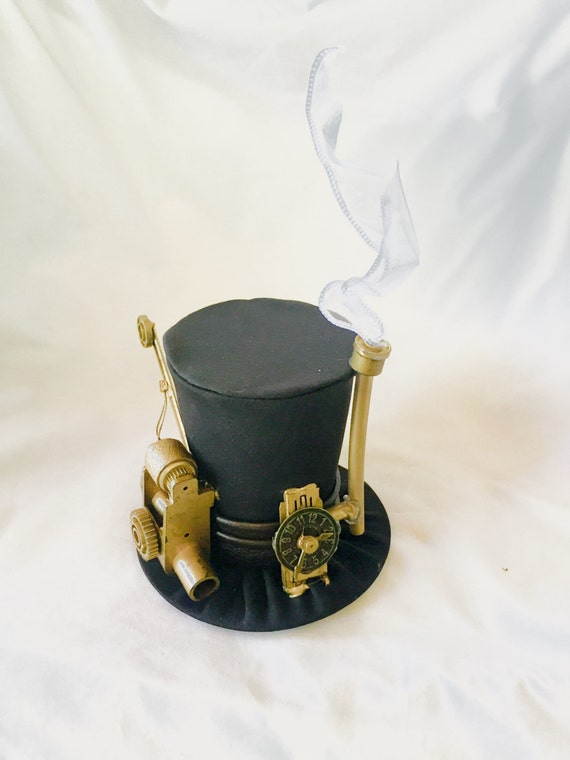 Tiny Top Hat: Steam Punk Professor - Lolita Cosplay Costume Party Fascinator Photo Photography Prop Wedding Tophat Small Mini Miniature