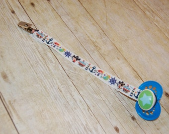 Pacifier Clip, Pirates, Personalization Available, Ready to Ship