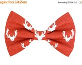 ON SALE Christmas Reindeer Dog Bow Tie; Holiday Dog Bow: Reindeer