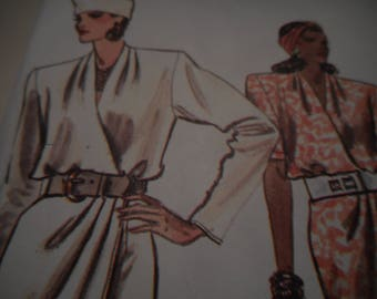 Vintage 1980's Vogue 9963 Dress Sewing Pattern, Size 8-10-12