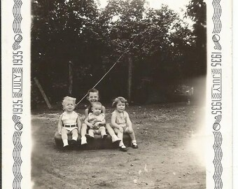 Vintage July 1935 Photograph of 4 Children Baby
