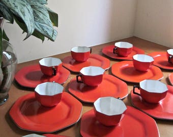 Solian Ware Snack Set, Antique Dishes, Vintage Dishes, Kitchen Plates, Dishware Set, SOHO Pottery, Vintage Dinnerware, Red Dinnerware