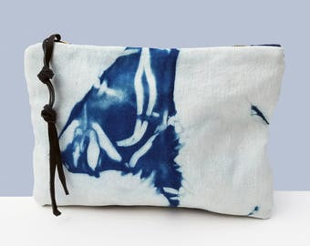 Denim bag, Shibori bag, Clutch wallet, Shibori clutch, Evening bag, Organizer, Clutch wallet