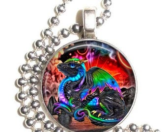 Colorful Dragon Altered Art Photo Pendant, Earrings and/or Keychain Round, Silver and Resin Charm Jewelry