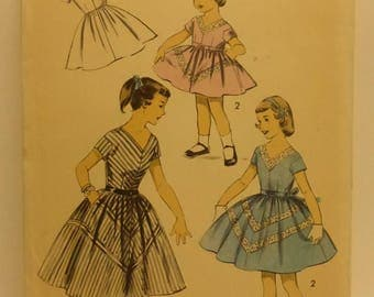 Vintage Advance Pattern 7939 Girls Dress Size 6