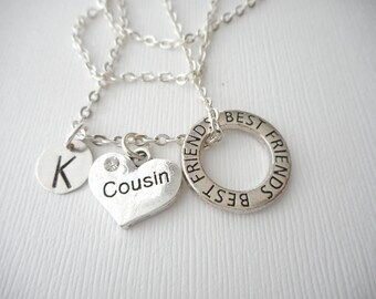 Cousin, Best Friends -Initial Necklace/ Friend Necklace, best friend jewelry, friendship necklace, going away, Cousins Jewelry, gift for