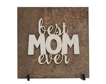 Mother's Day Gift Idea - Gift for New Mom - Stocking Stuffer - Desk Decoration - Office Cubicle Art - Laser Cut Wood - Gifts Under 20