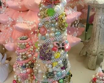 """Handmade Vintage Jewelry Tree OOAK 12"""" Pink OOAK"""